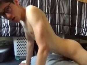 Geeky College Boy Fucking His Pillow