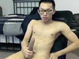 Asian Twink With Glasses Wanks Big Dick